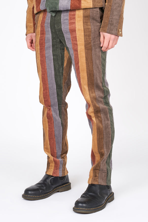 Vertical Paneled Corduroy Pants