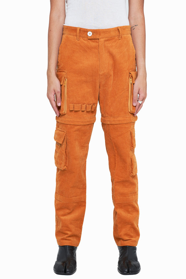 Apricot Brown Corduroy Utility Tech Pants (Final Sale)