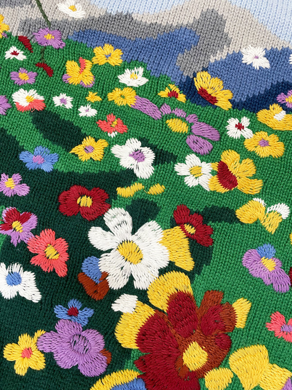 Flower Embroidery Knit Crewneck