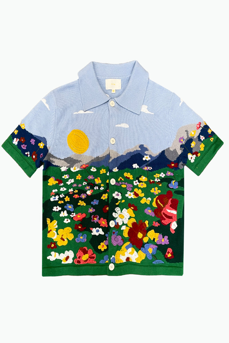 Flower Embroidery Knit Shirt