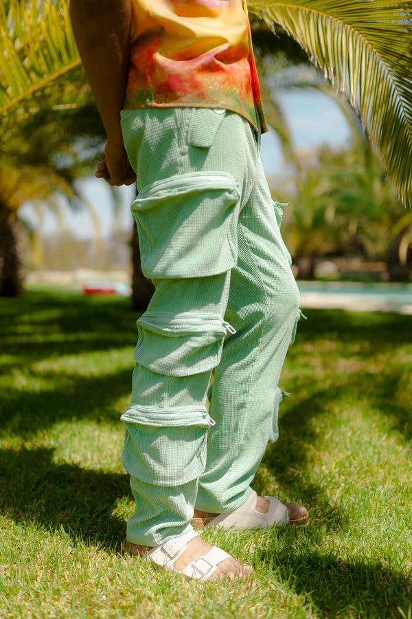 Pistachio Green Cargo Trousers (Backorder)