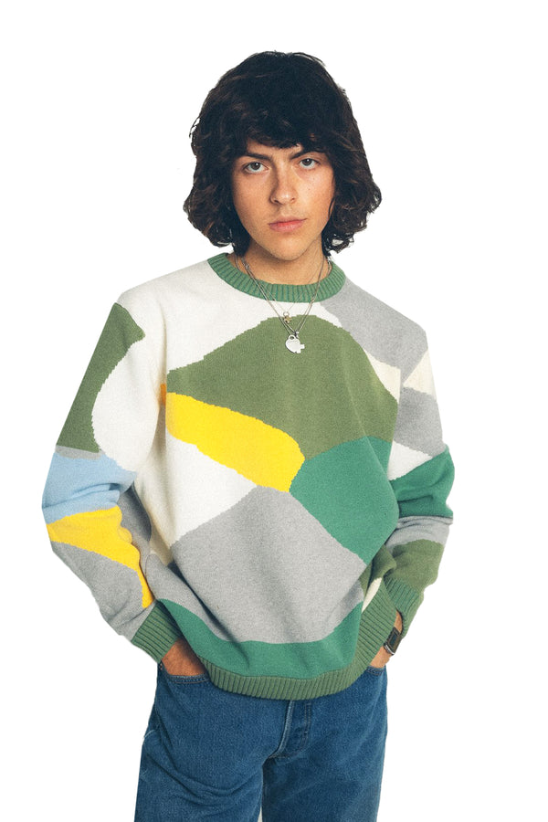 Colorblock Knit Pullover Sweatshirt