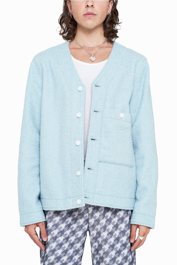 Opal Blue Bouclé Cardigan Jacket (Final Sale)