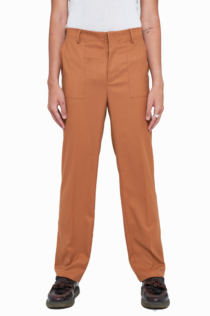 Sepia Pleated Straight-Fit Trousers