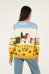 Intarsia Sunflower Hand Embroidered Cardigan Jacket