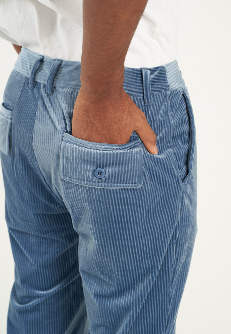 Riviera Blue Corduroy Flared Trousers