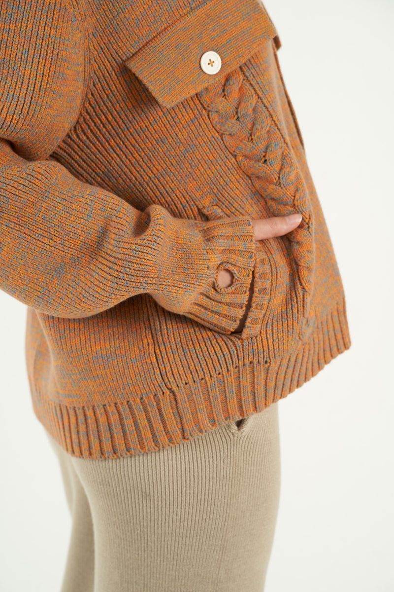 Citrus Melange Knitted Cardigan Jacket