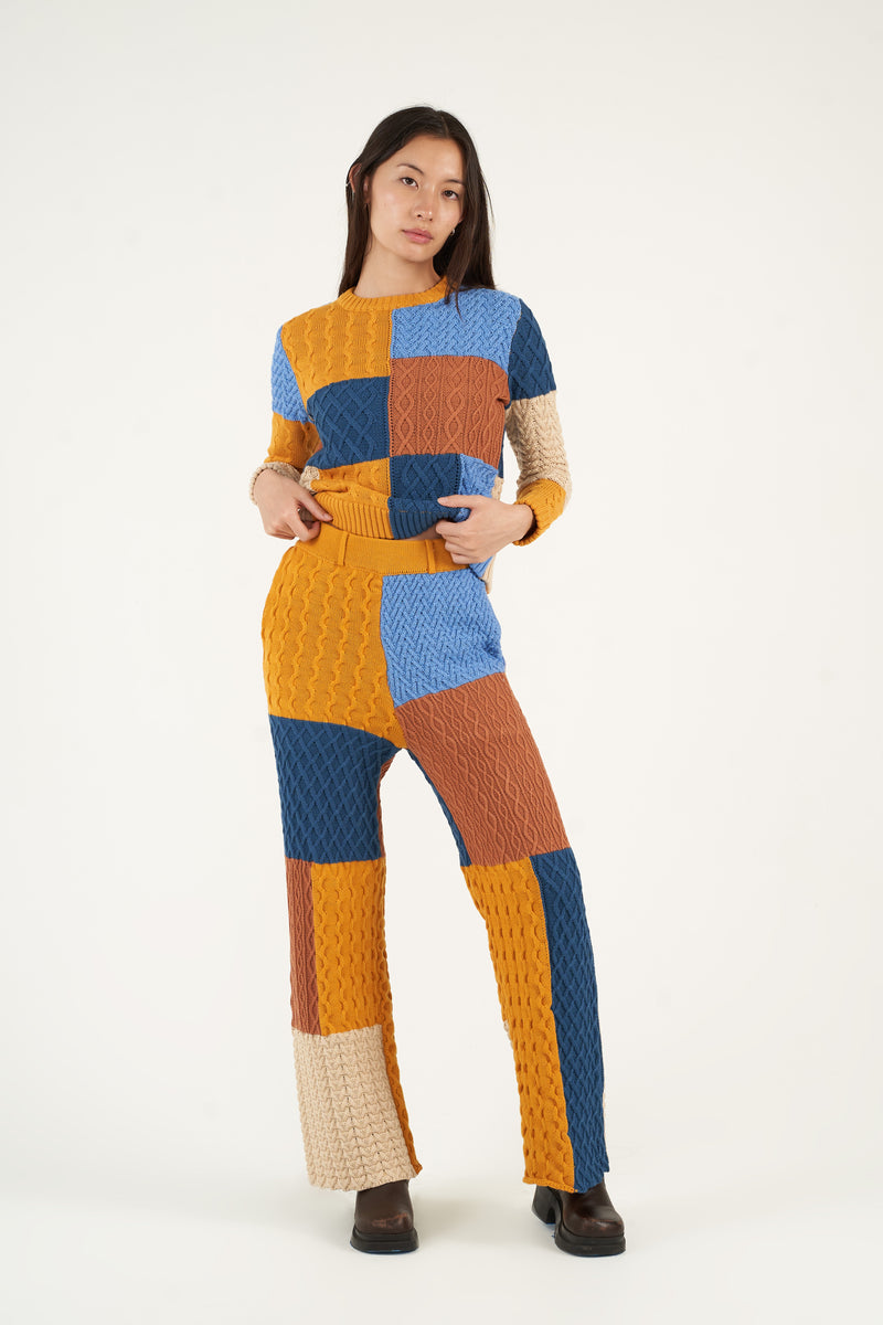 Patchwork Textured Cable Knit Crewneck