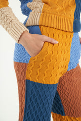 Patchwork Textured Cable Knit Flared Trousers