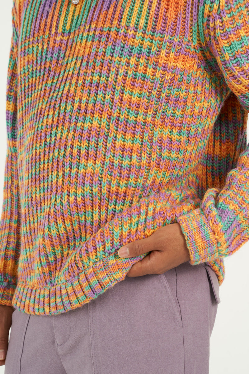 Multicolor Melange Knitted Crewneck