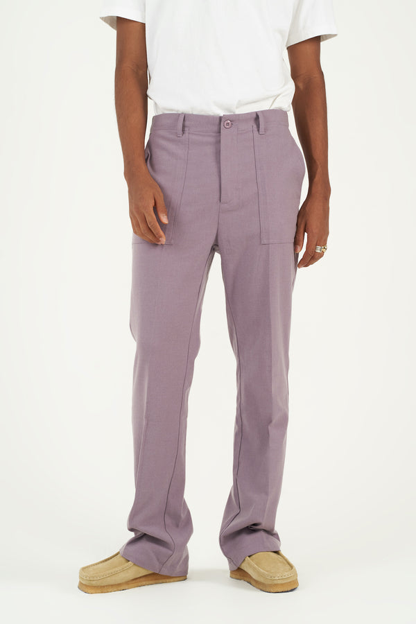 Lavender Purple Pleated Flared Trousers