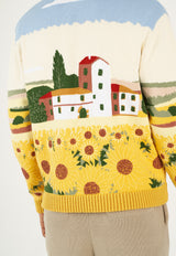 Intarsia Sunflower Hand Embroidered Cardigan Jacket (Pre-order)