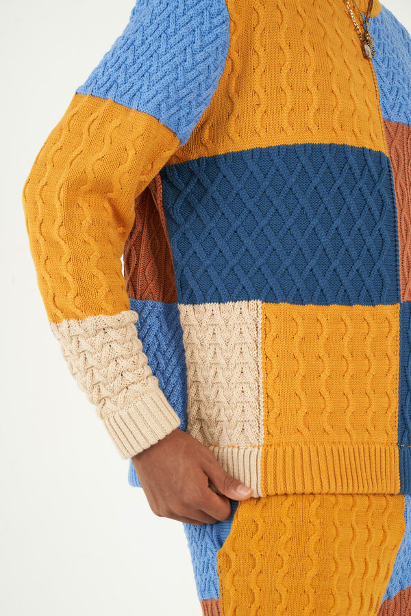 Patchwork Textured Cable Knit Crewneck (Pre-order)