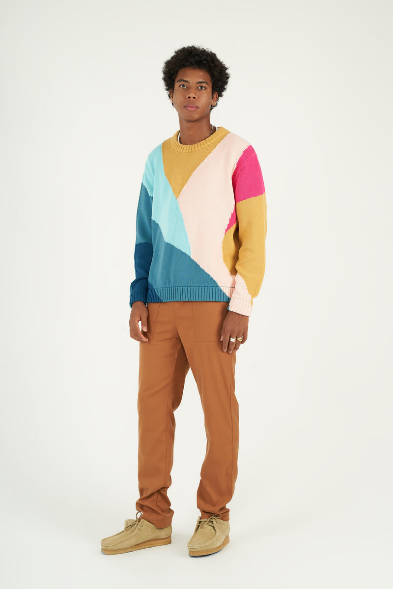 Layered Terrain Knitted Crewneck