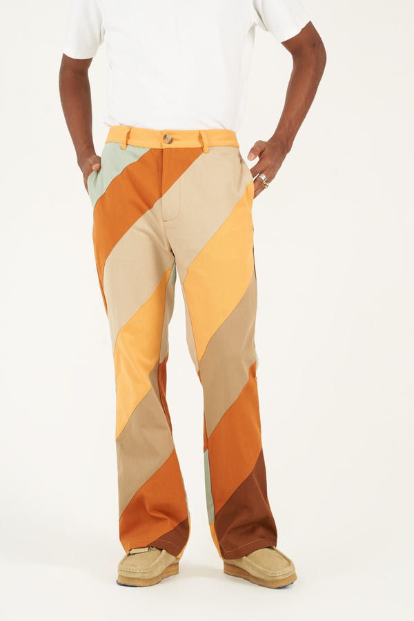Diagonal Striped Patchwork Pants (Pre-order)