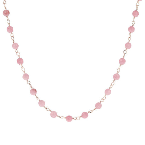 Collier Amorette Quartzite rose - 75 cm