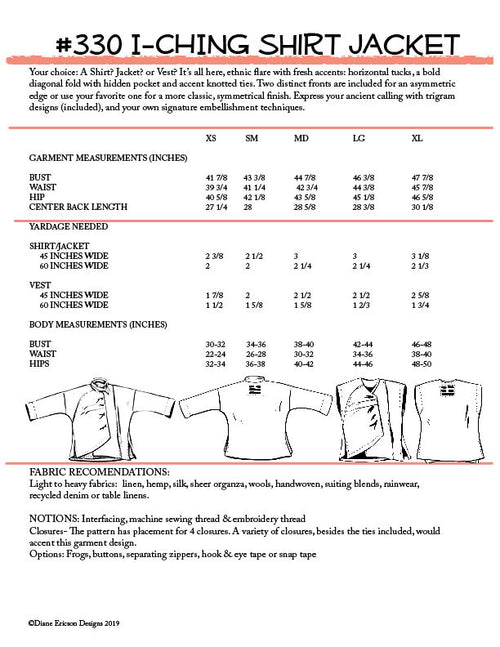 #330 I-CHING SHIRT/JACKET - PDF PATTERN
