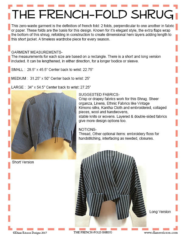 #332 - THE FRENCH-FOLD SHRUG - PDF PATTERN