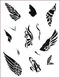 DECO BIRD & BORDERS STENCIL