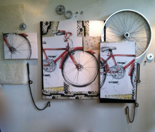 RED BIKE FABRIC PANEL