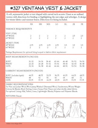 #327 - THE VENTANA VEST & JACKET - PDF PATTERN