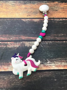 Unicorn Teether and Pacifier Clip