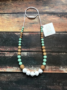 Mint and White Teething Necklace