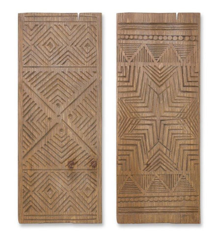 Wood Carved Wall Plaque - 2 Styles