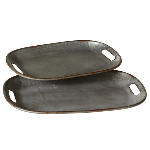 Rustic Galvanized Curved Tray