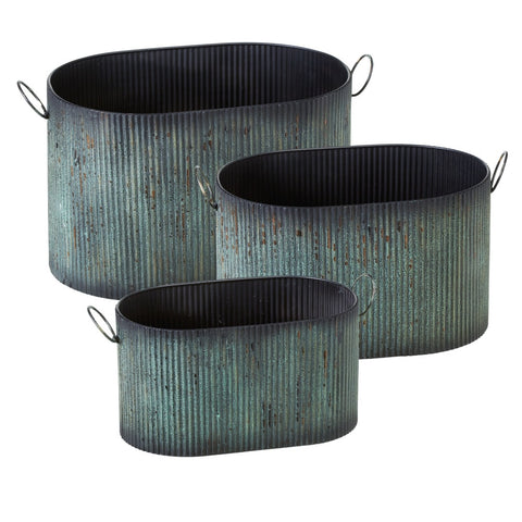 Ribbed Green Patina Oval Planter-3 Sizes