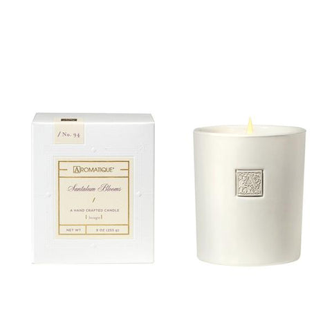 Aromatique Santalum Blooms White Candle