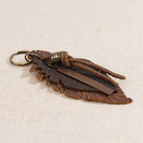 Leather Feather Keychain