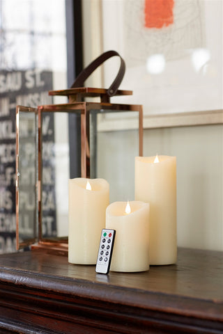 Ivory Simplux LED Pillar Candle W/Moving Flame