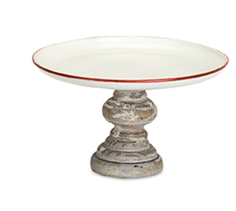 White w/ Red Trim Wooden Pedestal