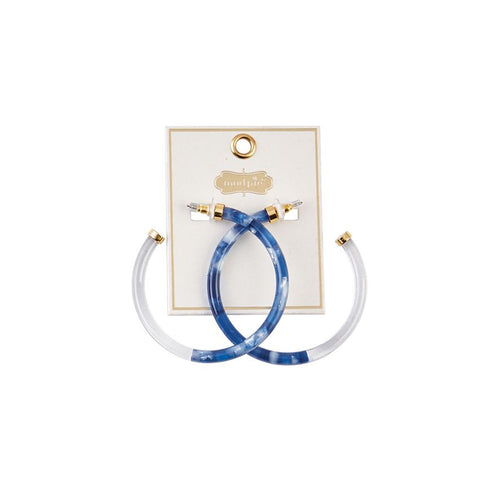 Blue/White Marble Hoop Earrings
