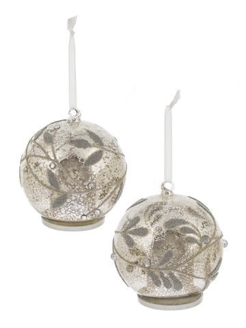 Silver/Gold Leaves Glass Ornament