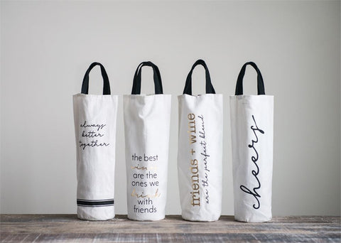 Fabric Wine Bag w/ Sayings & Black Handles, 4 Styles