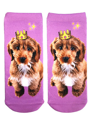 Emoji Crown Puppy Ankle Socks