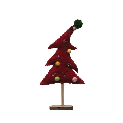 Red Whimsical Felt Tree
