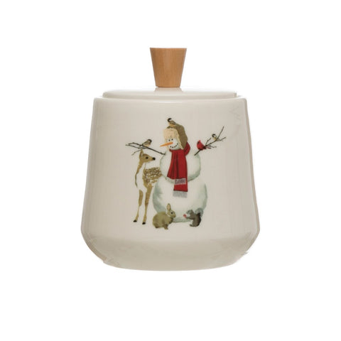 Woodland Snowman Christmas Canister