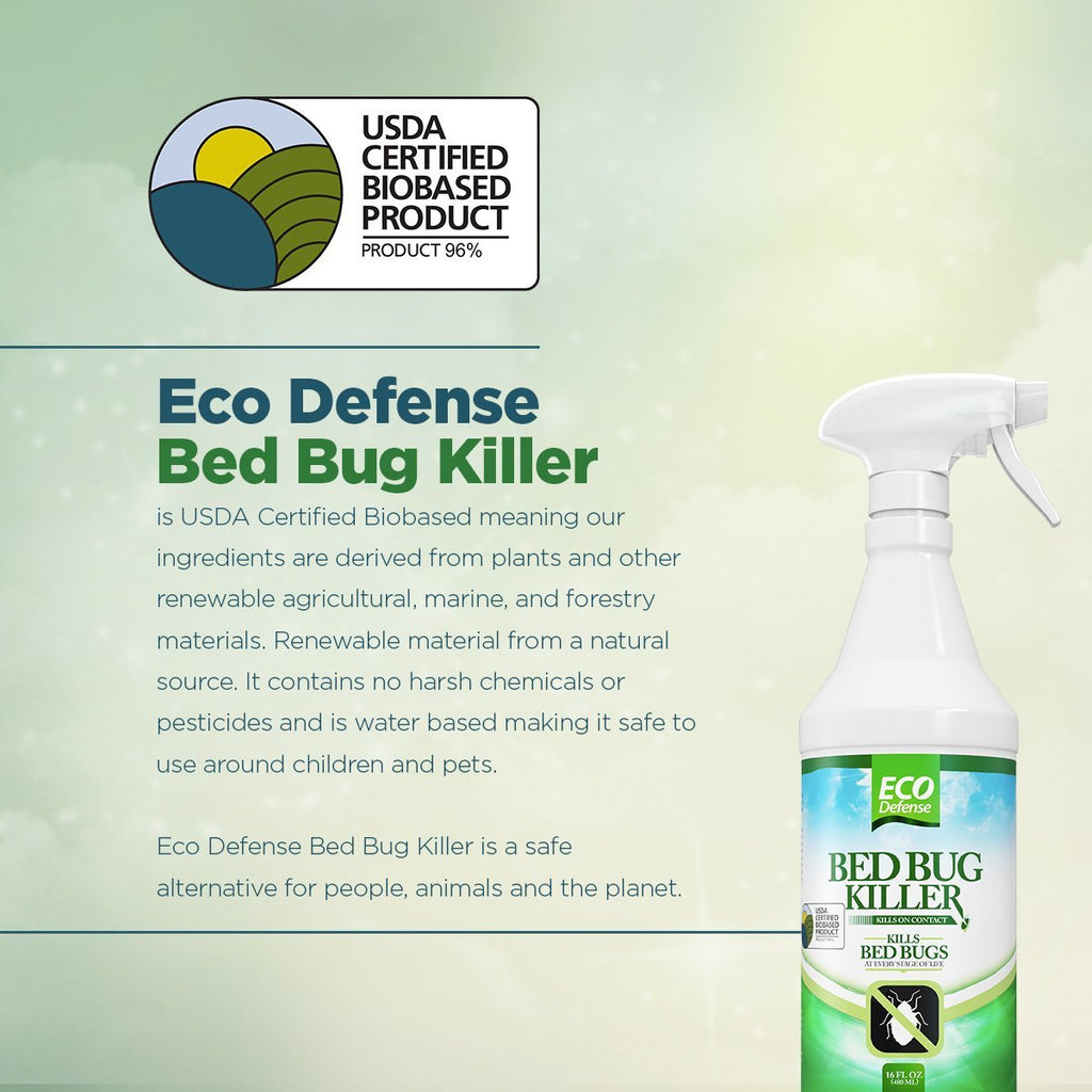 Eco Defense Bed Bug Spray - USDA Biobased Bed Bug Killer & Dust Mite Spray - Child & Pet Friendly - Natural Non Toxic Repellent Treatment - 16 oz