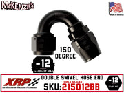 -12AN 150˚ Triple Sealed Hose End | Double-Swivel | XRP 215012BB