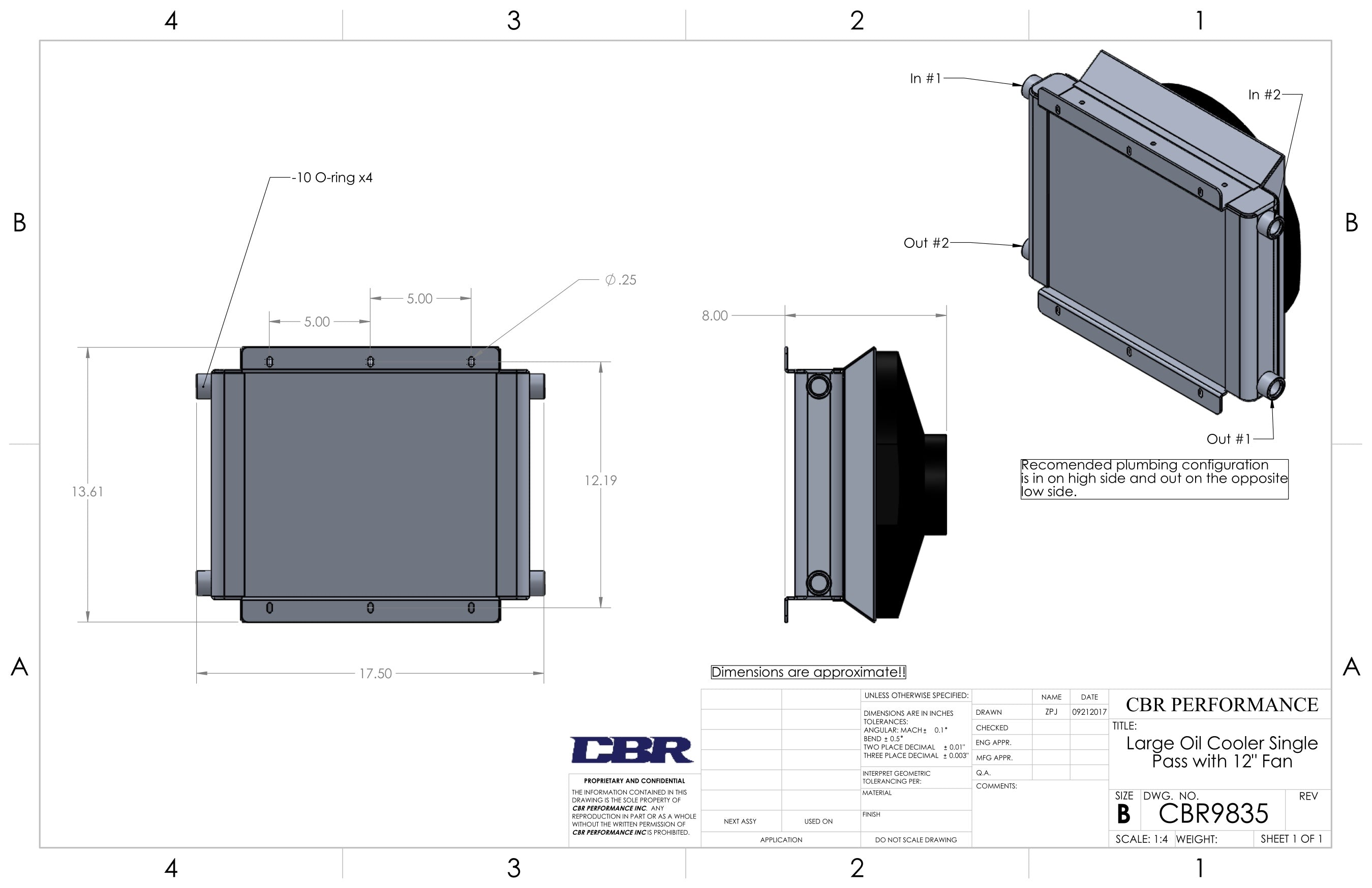 Cbr Pro Series Large Oil Coolers Single Dual Pass Mckenzies Coil On Plug Wiring Diagram Dimensional