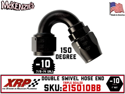-10AN 150˚ Triple Sealed Hose End | Double-Swivel | XRP 215010BB