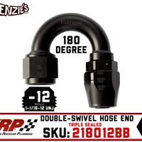 -12AN 180˚ Triple Sealed Hose End | Double-Swivel | XRP 218012BB