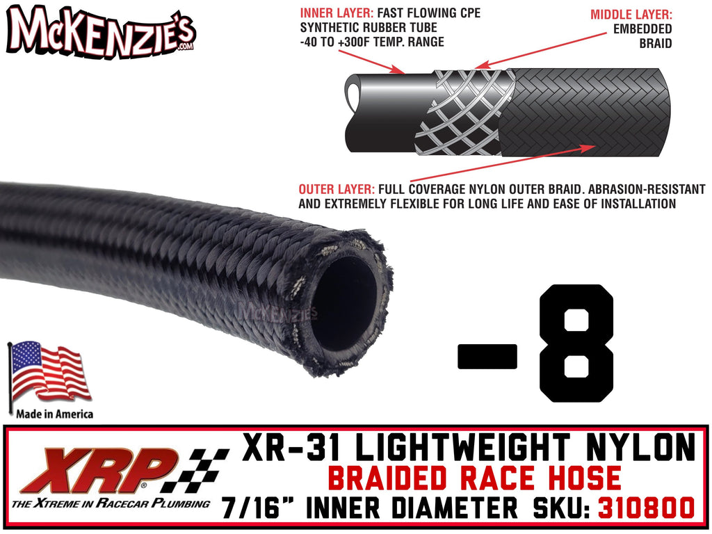 "-8 XR-31 Lightweight Nylon Braided Race Hose | .438"" ID - .641"" OD 