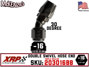 -16AN 30˚ Triple Sealed Hose End | Double-Swivel | XRP 203016BB