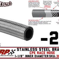 "-20 Stainless Steel Braided CPE Race Hose | 1.125"" ID - 1.437"" OD 