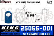 "King 25066-001 | 2.5"" Shock Rod End w/Shaft Guard Groove"