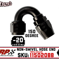 -20AN 150˚ Triple Sealed Hose End | Non-Swivel | XRP 115020BB